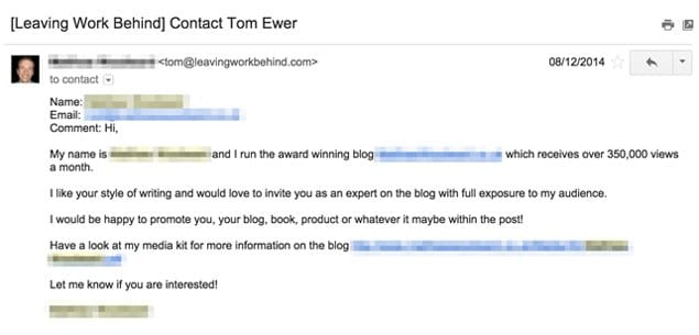 Example Guest Post Outreach Email