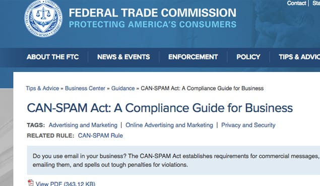 FTC Can Spam Website
