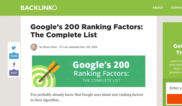 Backlinko Ranking Factors