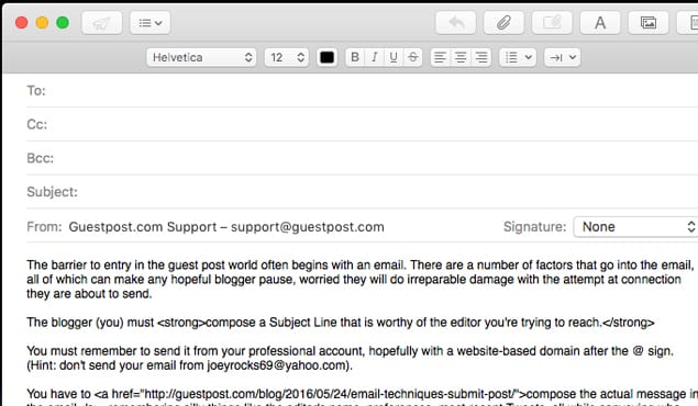 Guestpost HTML Email Example
