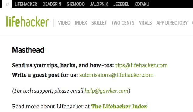 Contacting Lifehacker Tips Email