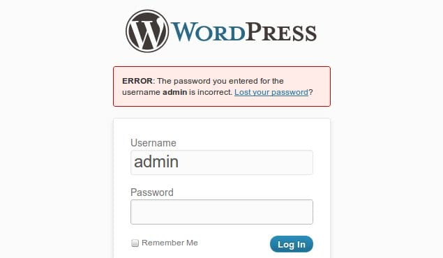 Password Incorrect WordPress