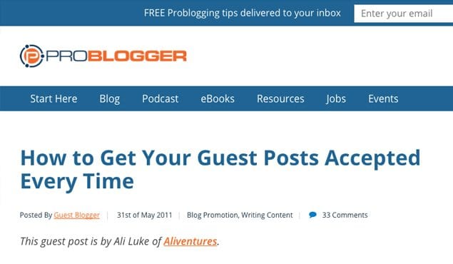 ProBlogger Get Post Accepted