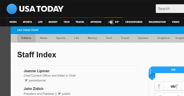 Staff Index USA Today