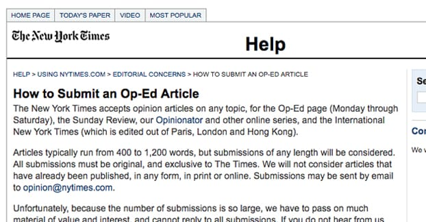 Submit Op-Ed Article New York Times