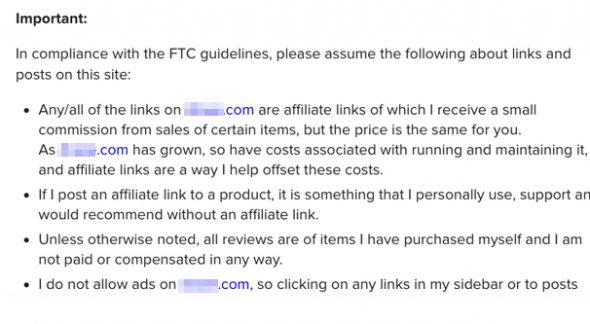 Affiliate Links FTC Guidelines