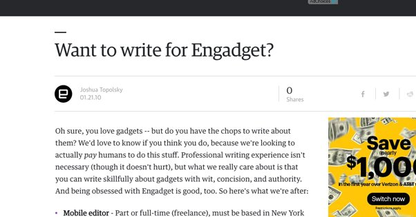 Writing for Engadget Post