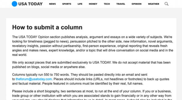 Submitting a Column to USAToday